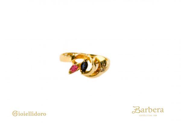 anello vintage zaffiro e zircone
